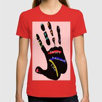 Hand Womens Fitted Tee Red SMALL