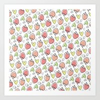 Pattern: Strawberries & Hearts Art Print