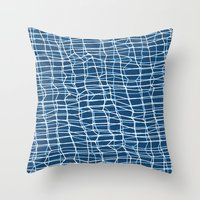 Hand drawn and Digital White Lines Pattern Throw Pillow