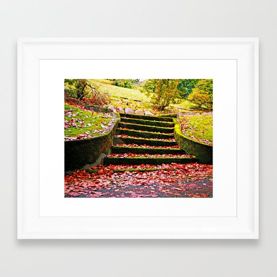 Autumn stairs Framed Art Print