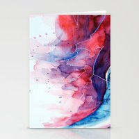 Watercolor Magenta & Cya… Stationery Cards