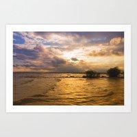 Weather over the lake Art Print
