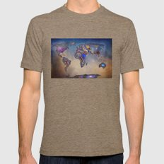 Stars World Map. Blue Mens Fitted Tee Tri-Coffee SMALL