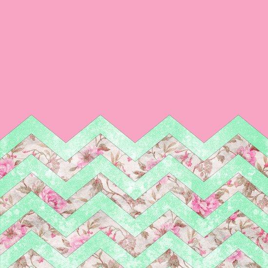 Girly Mint Green Pink Floral Block Chevron Pattern Art Print