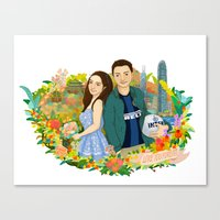 Custom illustration for a couple Canvas Print