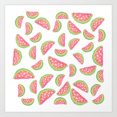Hand painted modern watercolor hearts watermelon fruits pattern Art Print
