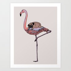 Flamingo and Pug Art Print