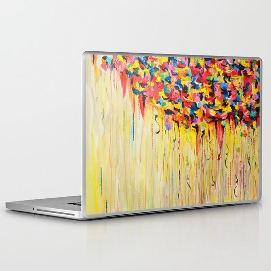 OPPOSITES LOVE Raining Sunshine - Bold Bright Sunny Colorful Rain Storm Abstract Acrylic Painting Laptop & iPad Skin