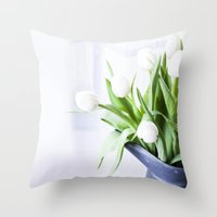 In The Window - Tulip Still Life Throw Pillow