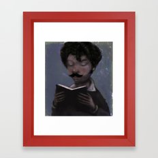 Reader with Mustache Framed Art Print