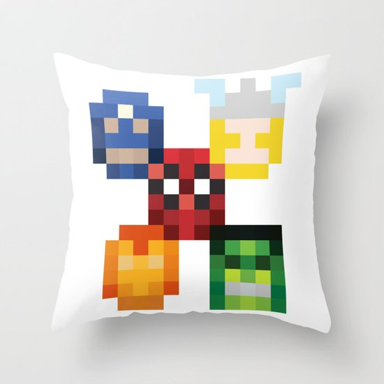 five heroes Throw Pillow