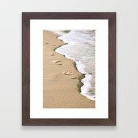 Footprints On The Beach Framed Art Print