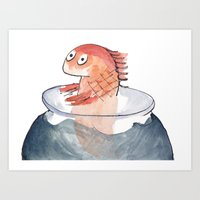 Scared Goldfish Art Print