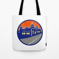 Buildings Street Cityscape Circle Retro Tote Bag