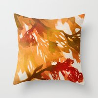 Morning Blossoms 2 - Red… Throw Pillow