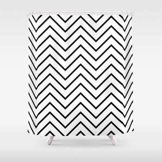 Black And White Chevron Shower Curtain By Bethany Craig