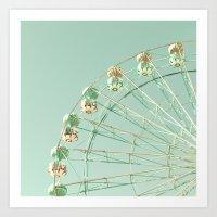 Ferris wheel on mint green sky Art Print