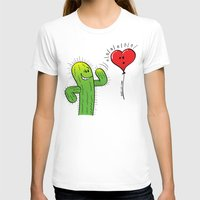 T-shirt featuring Spiky Cactus Flirting with a Heart Balloon by Zoo&co on Society6 Products