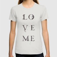 Love Me Womens Fitted Tee Silver SMALL