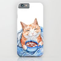 iPhone & iPod Case featuring Happy Cat Drinking Hot Chocolate by Goosi
