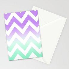 GREEN & PURPLE CHEVRON FADE Stationery Cards