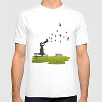Singing Birds Mens Fitted Tee White SMALL
