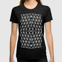 Geo Outline Grey Womens Fitted Tee Tri-Black SMALL
