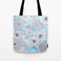 Floral Doodle in Blue Tote Bag