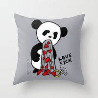 LOVESICK PANDA - Grey Throw Pillow