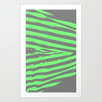 stripes Art Prints featuring Green & Gray Stripes by 2sweet4words Designs