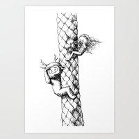 Girl and a monster Art Print