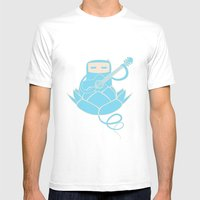 Lotus&Guitar Mens Fitted Tee White SMALL