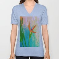 Unisex V-Neck featuring Exotic Flower Love by Die Farbenfluesterin