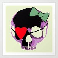 Pink Skull With Heart An… Art Print