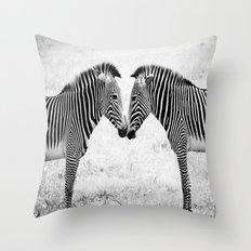Two Zebras Throw Pillow