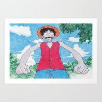 Monkey Art Luffy Art Print