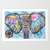 wanderlust elephant map watercolor travel art Art Print