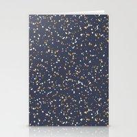Speckles I: Dark Gold & Snow on Blue Vortex Stationery Cards