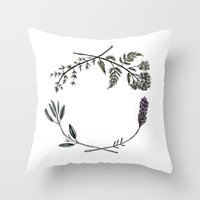 Yarrow, Sage, Lavender, Thyme Throw Pillow