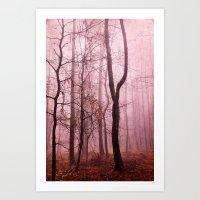 Tree Silhouettes In Mist… Art Print