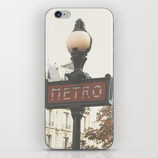 Metro - Paris Sign Photography iPhone & iPod Skin