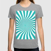 Swirl (Tiffany Blue/White) Womens Fitted Tee Tri-Grey SMALL