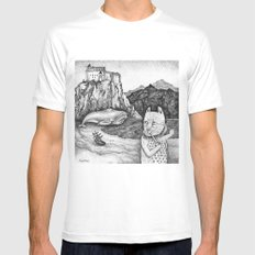 The Whale, The Castle & The Smoking Cat Mens Fitted Tee White SMALL