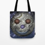 Tote Bag featuring Happy Moon by Steve Purnell