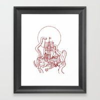 The Midnight Chateau Red… Framed Art Print