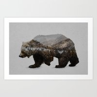 california Art Prints featuring The Kodiak Brown Bear by Davies Babies