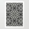 Black & White Folk Art Pattern Art Print