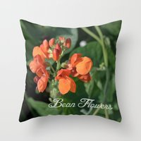 bright orange bean flowers. garden vegetable plant photography. Throw Pillow