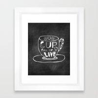 Cup Full Of Love Chalkboard Framed Art Print