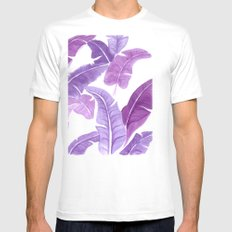 Purple Palms White Mens Fitted Tee SMALL